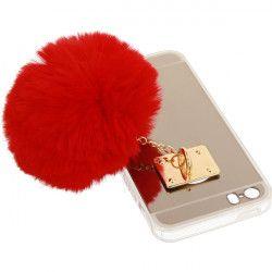 MIRROR CASE POMPON ETUI NA TELEFON IPHONE 5G A1533/A1428 CZERWONY