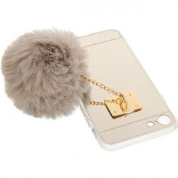 MIRROR CASE POMPON ETUI NA TELEFON IPHONE 7 4.7''A1778/A1905 SZARY